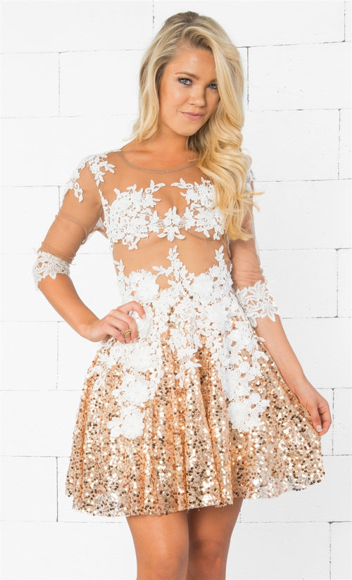 Indie XO Evening of Extravagance Gold White Sheer Mesh Lace Sequined 3/4 Sleeve Zip Back Flare Skater Mini Dress - Just Ours!