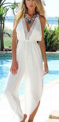 Lace Trim V-neck Backless Tie Neck Halter Casual Jumpsuit - Sold Out