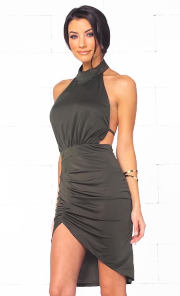 Indie XO Polished Chic Olive Green Beige Sleeveless Scoop Neck Backless Halter Ruched Tulip Bodycon Mini Dress - Just Ours!- Sold Out