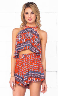 Indie XO Wild Belle Red Navy Blue White Paisley Geometric Sleeveless Halter Crop Tank Top Shorts Two Piece Romper - Just Ours! - Sold Out