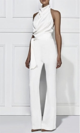 Resort Ready White Sleeveless Mock Neck Draped Backless Halter Tie Belt Jumpsuit