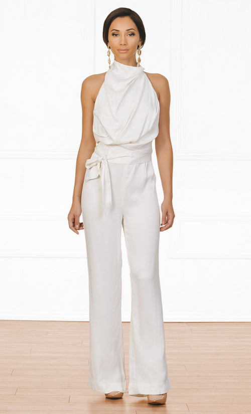 Indie XO Resort Ready White Sleeveless Mock Neck Draped Backless Halter Tie Belt Jumpsuit