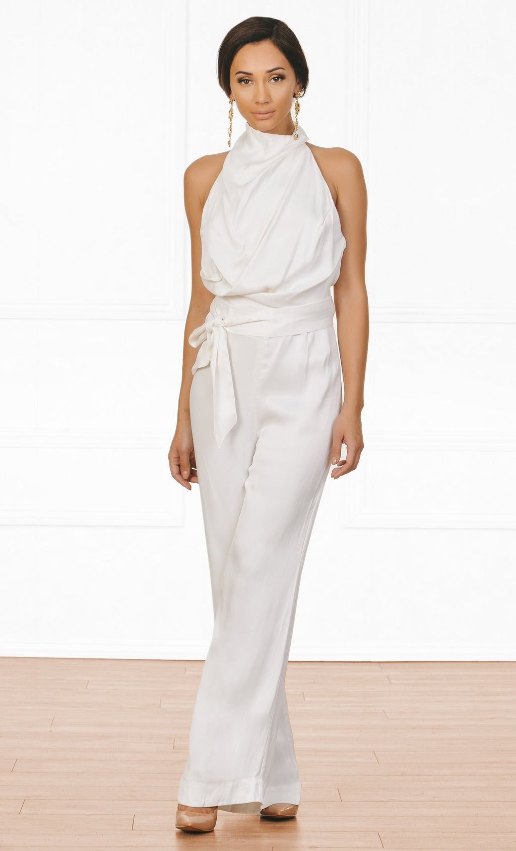 Indie XO Resort Ready White Sleeveless Mock Neck Draped Backless Halter Tie Belt Jumpsuit - Sold Out