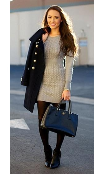 Light Grey Cable Knit Long Sleeve Ribbed Hem Mini Sweater Dress