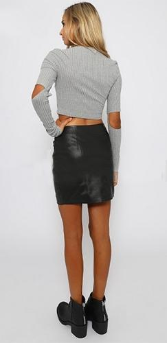 Girls Bite Back Heather Grey Black Long Sleeve Ribbed Scoop Neck Cut Out Elbows Crop Top!! - Sold Out