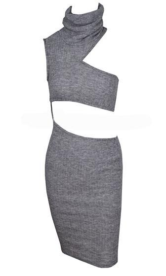 High Maintenance Heather Grey Sleeveless Ribbed Turtleneck Cut Out Bodycon Midi Dress - Sold Out