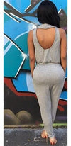 Heather Grey Sleeveless V Neck Draped Elastic Waist One Piece Jumpsuit - Sold Out