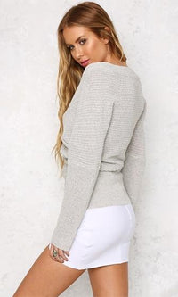 Can't Complain Heather Light Grey Long Sleeve Cross Wrap V Neck Off The Shoulder Pullover Sweater - Sold Out