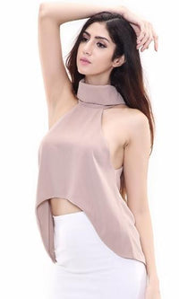 Show Off Beige Sleeveless Turtleneck Halter Keyhole Back High Low Chiffon Tank Top - Sold Out