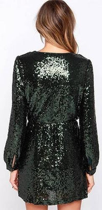 Hunter Green Sequin Wrap Cross V Long Puff Sleeve Elastic Waist Mini Dress - Sold Out