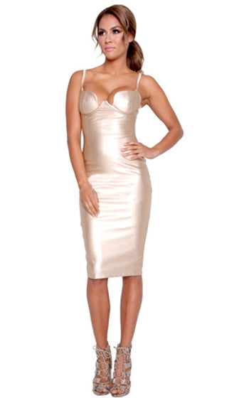 Invitation Only Gold PU Faux Leather Sleeveless Spaghetti Strap Bustier Bodycon Midi Dress - Inspired by Kim Kardashian