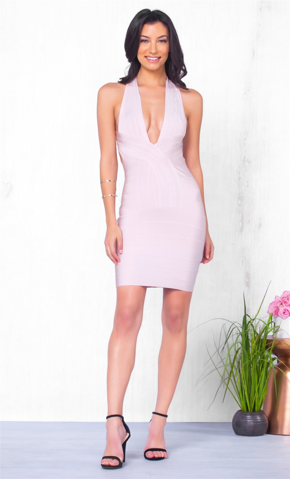 Indie XO Special Invitation Sleeveless Apricot Plunging Deep V Neck Cross Back Bodycon Bandage Fitted Mini Dress - Just Ours!