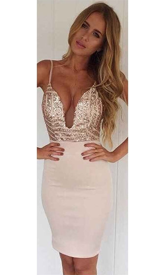 Oh So Fine Ivory Gold Geometric Sequin Spaghetti Strap Plunge V Neck Bodycon Mini Dress - Sold Out