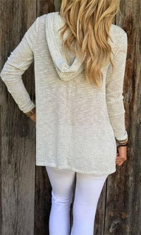 Winter Chill Ivory Long Sleeve V Neck Hoodie Waffle Pullover Sweater - Sold out