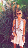 Never Too Late Ivory Crochet Lace Spaghetti Strap Plunge V Neck Cut Out Asymmetric Handkerchief Midi Dress - Inspired by Rosie Huntington Whiteley - Sold Out