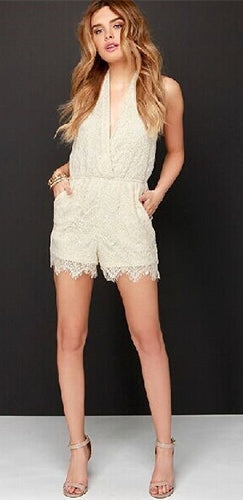 f57a326dee9 Love Affair Ivory Lace Sleeveless Cross Wrap V Neck Halter Backless Short  Romper - Sold Out