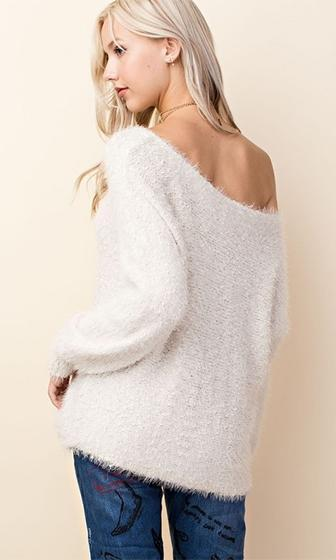 Dream A Little Dream Angora Ivory Long Sleeve Off The Shoulder Pullover Sweater - Sold Out