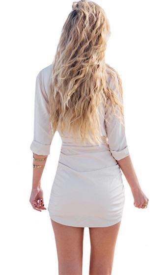 Power Struggle Ivory Long Sleeve Ruched V Neck Tie Waist Bodycon Mini Shirt Dress - Sold Out
