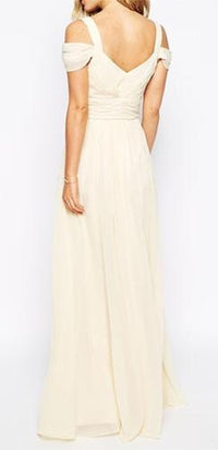 Farewell My Love Ivory Off the Shoulder Draped Sleeve V Neck Maxi Dress Evening Gown !! - Sold Out