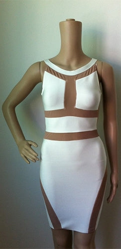 Nude Mesh Sleeveless Bandage Cut Out Bodycon T-back Midi Dress - 2 Colors Available