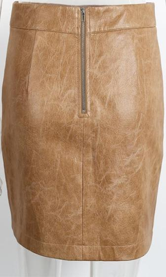 On Short Notice Light Brown Faux Leather High Waist Bodycon Pencil Mini Skirt  -  Sold Out