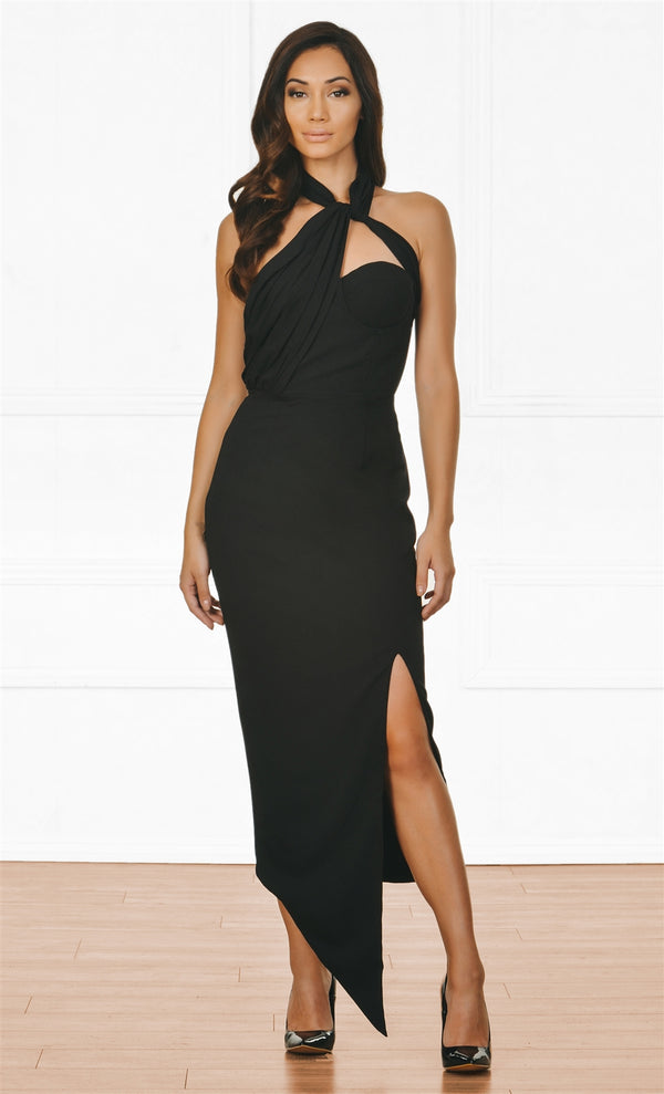 Indie XO Top Secret Black Sleeveless Mock Neck Halter Cut Out Slit Maxi Dress