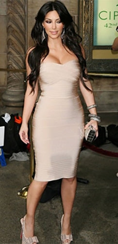 Champagne Taste Beige Khaki Strapless Sweetheart Neck Bandage Bodycon Midi Dress - As Seen on Kim Kardashian