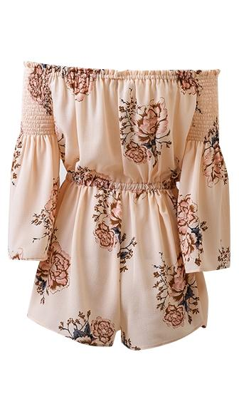 Everlasting Romance Khaki Floral 3/4 Bell Sleeve Smocked Off The Shoulder Lace Trim Romper