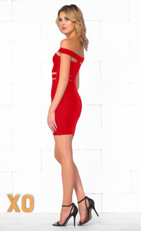 Indie XO It Girl Red Strapless Cut Out Bandage Bodycon Mini Dress - Inspired by Kylie Jenner - Sold Out