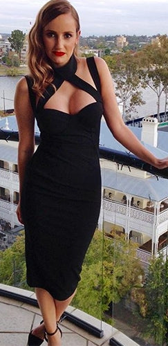 Break On Through Black Sleeveless Cut Out Mock Neck Halter Bodycon Bandage Midi Dress
