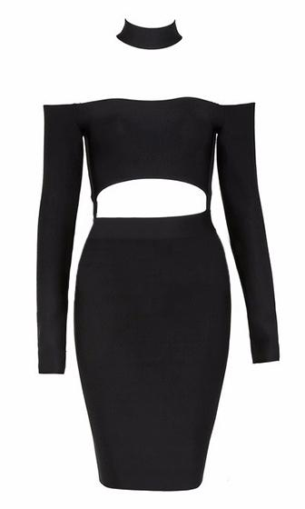 Good Life Black Long Sleeve Mock Neck Off The Shoulder Cut Out Waist Bodycon Bandage Mini Dress