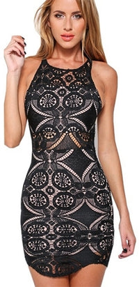 Vintage Vixen Black Geometric Floral Lace Sleeveless Scoop Neck Bodycon Mini Dress - Sold Out