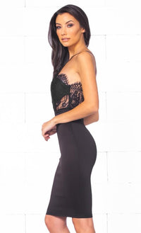 Indie XO So Amazing Black Sheer Lace Trim Spaghetti Strap Halter Bodycon Midi Dress - Just Ours! - Sold Out