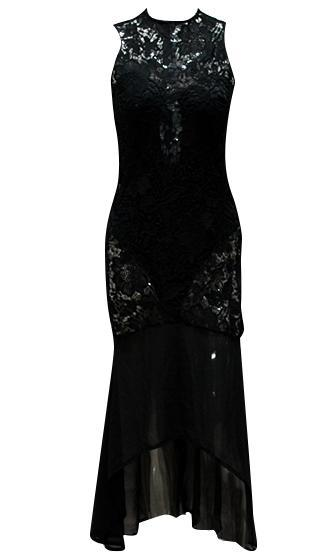 Drawing Attention Sheer Lace Sleeveless Chiffon Mock Neck Two Piece Strapless Bodysuit Mermaid Maxi Dress - Sold Out