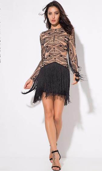 Hooked On A Feeling Nude Black Sheer Mesh Lace Fringe Long Sleeve Crew Neck Mini Dress - Sold Out