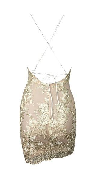 10405e671b8b Feeling This Gold Spaghetti Strap Lace Embroidery Cut Out Backless Bodycon  Mini Dress - Sold Out