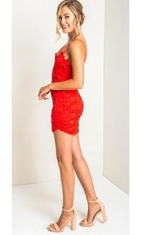 Romance Me Red Lace Spaghetti Cross Strap Bodycon Mini Dress - Sold Out