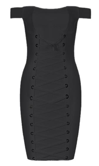 Hear Me Out Off The Shoulder Crisscross Lace Up Bodycon Bandage Mini Dress - 2 Colors Available
