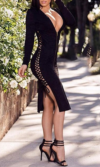 Curves Ahead Black Long Sleeve Plunge V Neck Zipper Lace Up Side Bodycon Bandage Midi Dress