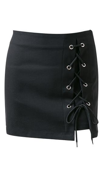 Public Affection Grommet Lace Up Bodycon Mini Skirt - 2 Colors Available