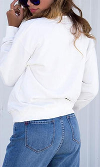 Soft Spot Long Sleeve Lace Up Grommet V Neck Pullover Sweatshirt - 2 Colors Available - Sold Out