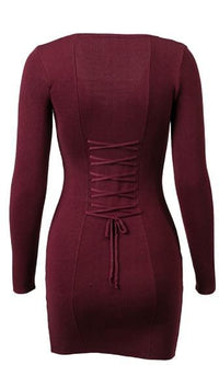 Always Attached Long Sleeve V Neck Lace Up Bodycon Mini Sweater Dress - 2 Colors Available - Sold Out