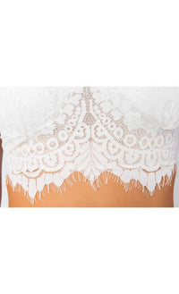 Indie XO Endless Love White Lace Two Piece Bra Bustier Crop Top Double Slit Maxi Skirt Dress - Sold Out
