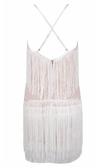 Let's Dance White Lace Fringe Spaghetti Strap Plunge V Neck Bodycon Mini Dress - Sold Out