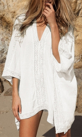 Coffee In Crete White Lace Inset Trim 3/4 Sleeve Deep V Neck Loose Mini Dress - Sold Out