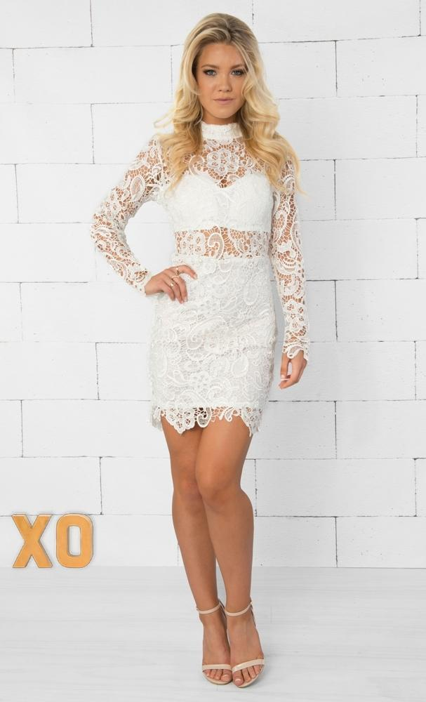Indie XO Floral Obsession White Sheer Lace Long Sleeve Mock Turtleneck Sexy Bodycon Mini Dress - Just Ours! - Sold Out