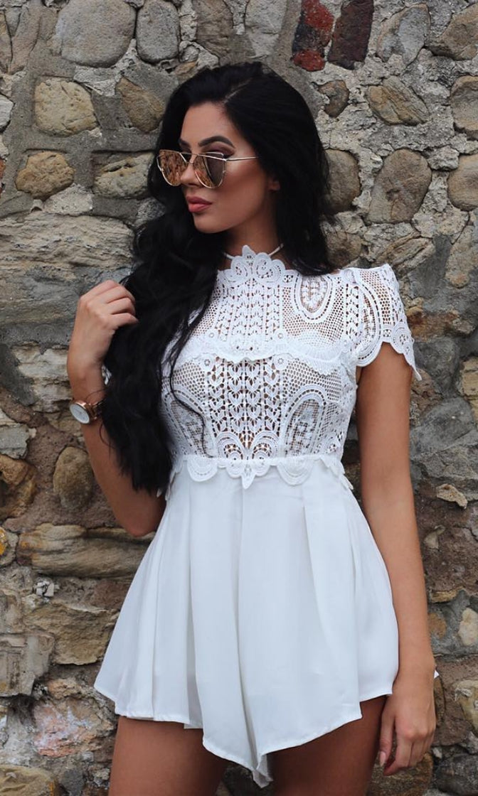 a0482fe1814 Simply Delicious White Lace Short Sleeve High Neck Pleated Short Romper  Playsuit - Sold Out