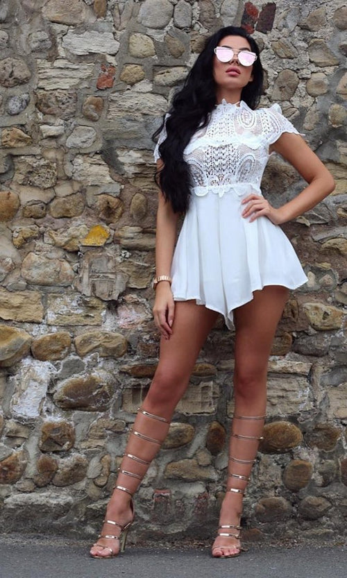 Simply Delicious White Lace Short Sleeve High Neck Pleated Short Romper Playsuit
