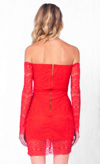 Indie XO Play Nice Red Lace Long Sleeve Off The Shoulder Ruched Tulip Bodycon Mini Dress - Just Ours - Sold Out