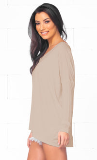 Piko 1988 Bamboo Light Brown Latte Long Dolman Sleeve V Neck Piko Bamboo Loose Tunic Top  -  Out of Stock!! - Sold Out